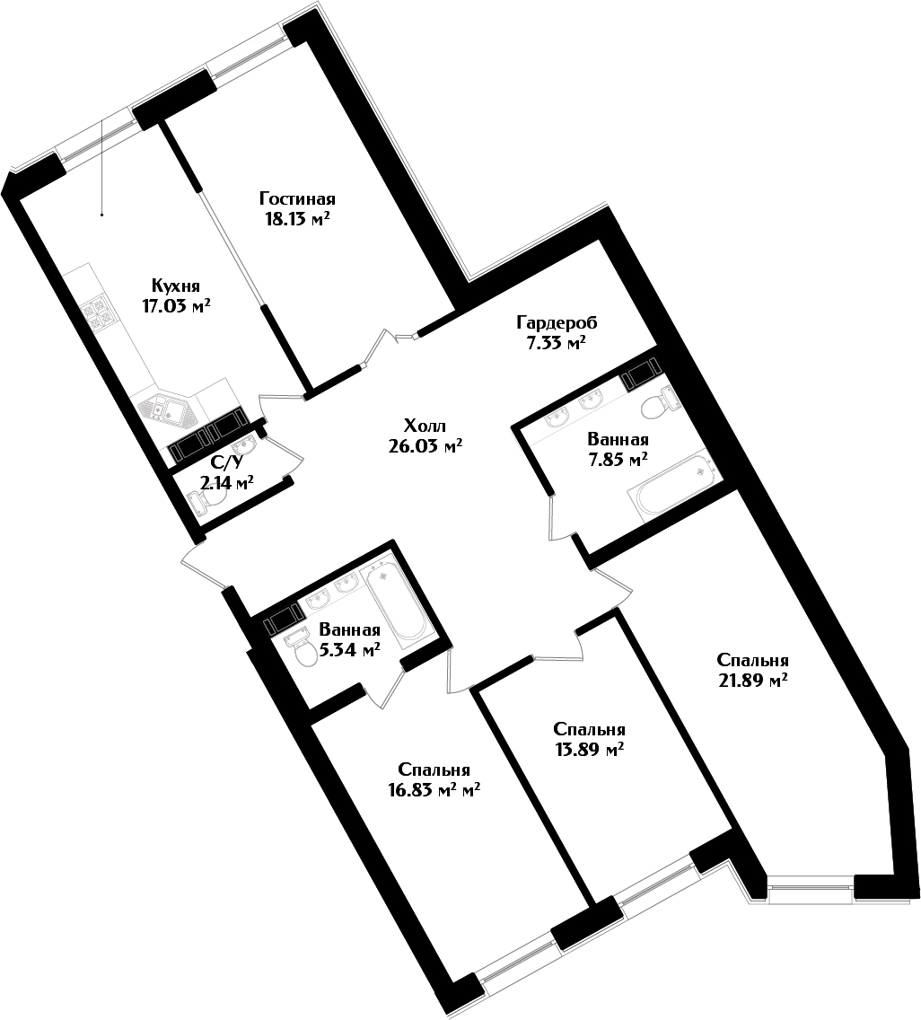 5-комнатная квартира (евро), 136.46 м², 2 этаж – Планировка