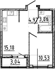 2Е-комнатная, 34.54 м²– 2