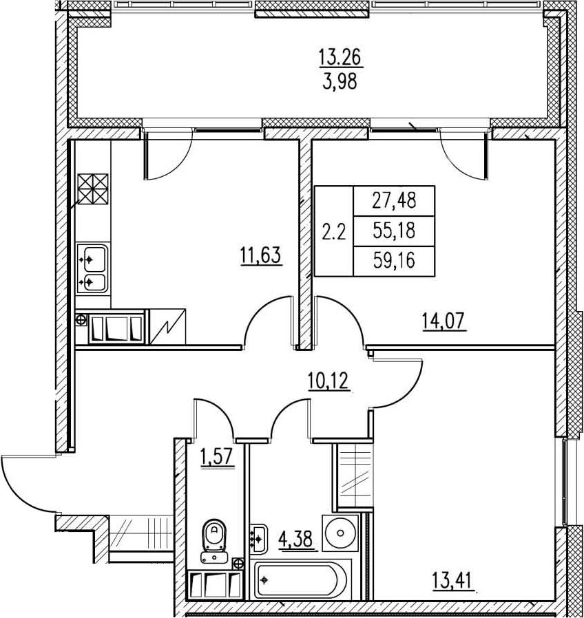 2-к.кв, 69.19 м²