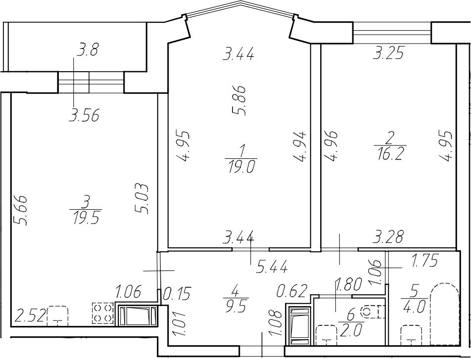 3-к.кв (евро), 74 м²