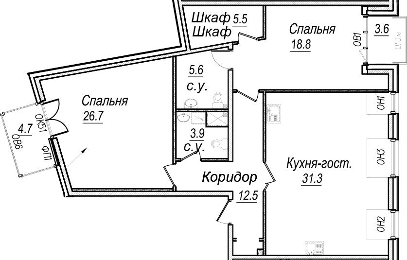 3Е-к.кв, 113.9 м², 7 этаж