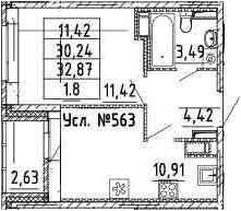 1-к.кв, 32.87 м²