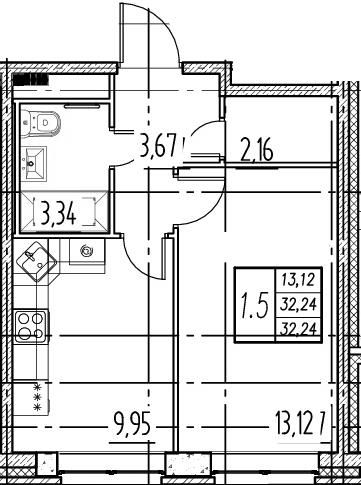 1-комнатная, 32.24 м²– 2