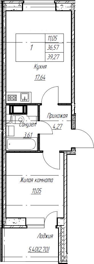 2Е-к.кв, 39.27 м², от 3 этажа