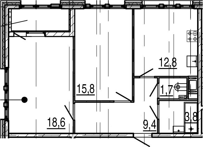 2-к.кв, 65.9 м²
