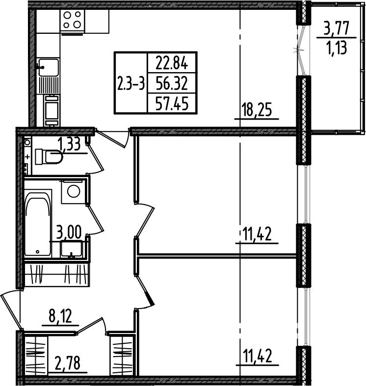 3Е-комнатная, 57.45 м²– 2