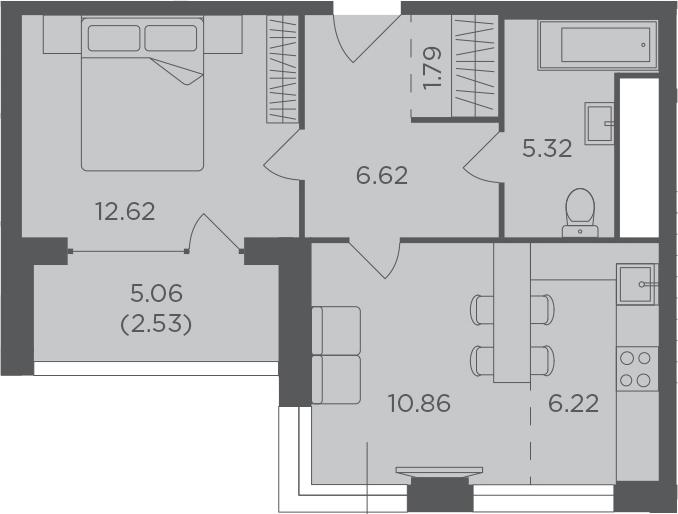 2Е-к.кв, 45.96 м², 17 этаж