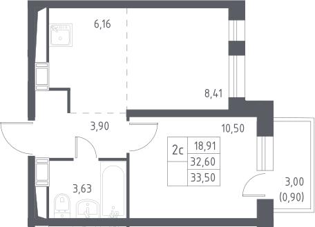 2Е-к.кв, 33.5 м², 14 этаж