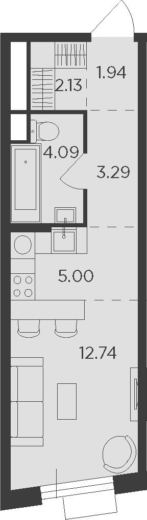 Студия, 29.19 м²