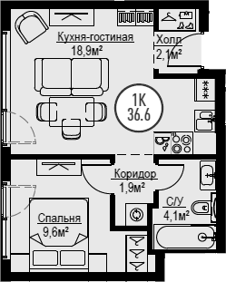 2Е-комнатная, 36.6 м²– 2