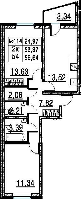 2-к.кв, 55.64 м²