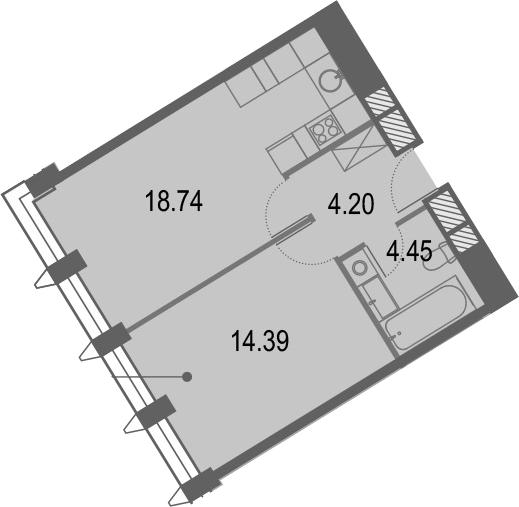 2Е-комнатная, 41.78 м²– 2