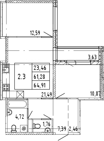 3Е-комнатная, 64.91 м²– 2