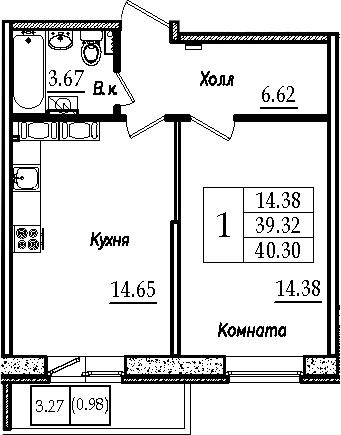 1-к.кв, 40.3 м²