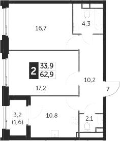 2-к.кв, 62.9 м²