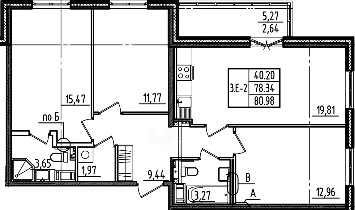 4Е-к.кв, 80.98 м²