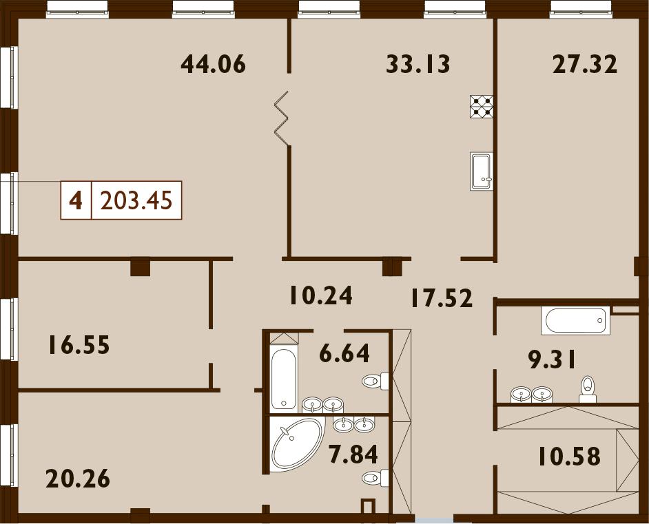 5Е-к.кв, 203.45 м², 2 этаж