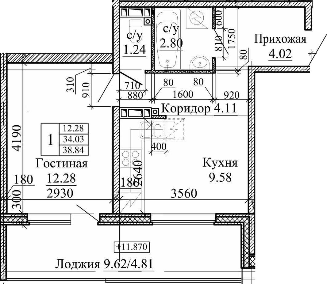 2Е-к.кв, 38.84 м²