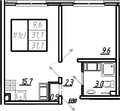 2Е-комнатная, 31.1 м²– 2