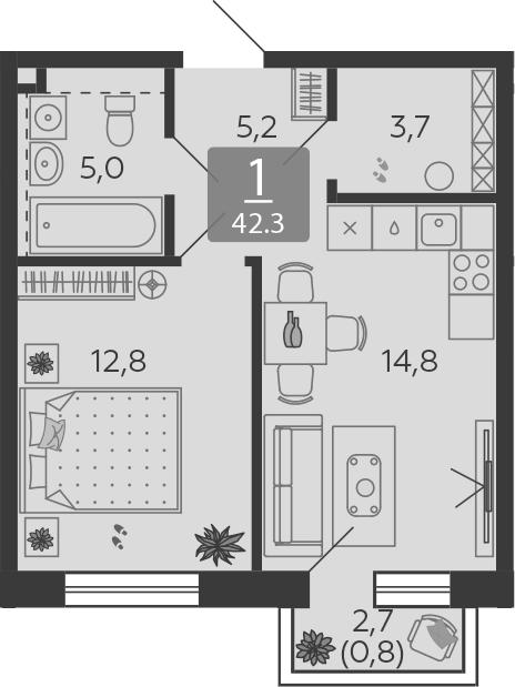 1-к.кв, 42.3 м²