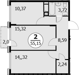 3-к.кв (евро), 56.56 м²