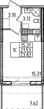 Студия, 21.53 м²– 2