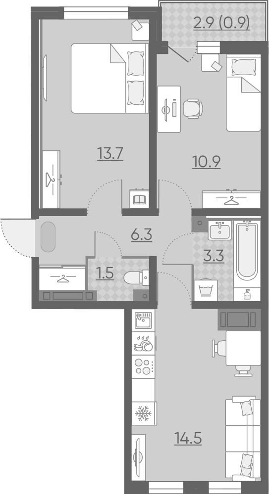 3Е-комнатная, 51.1 м²– 2