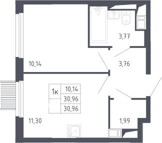 1-комнатная, 30.96 м²– 2