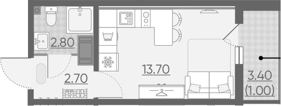 Студия, 20.2 м²