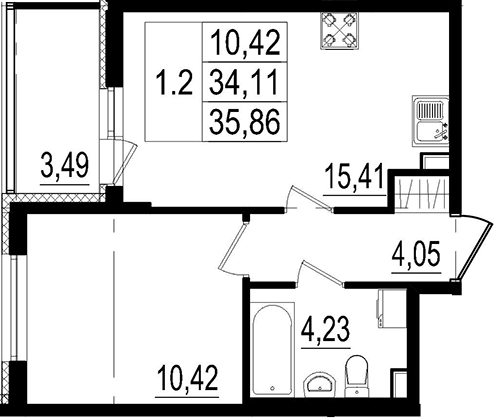 2Е-к.кв, 34.11 м²
