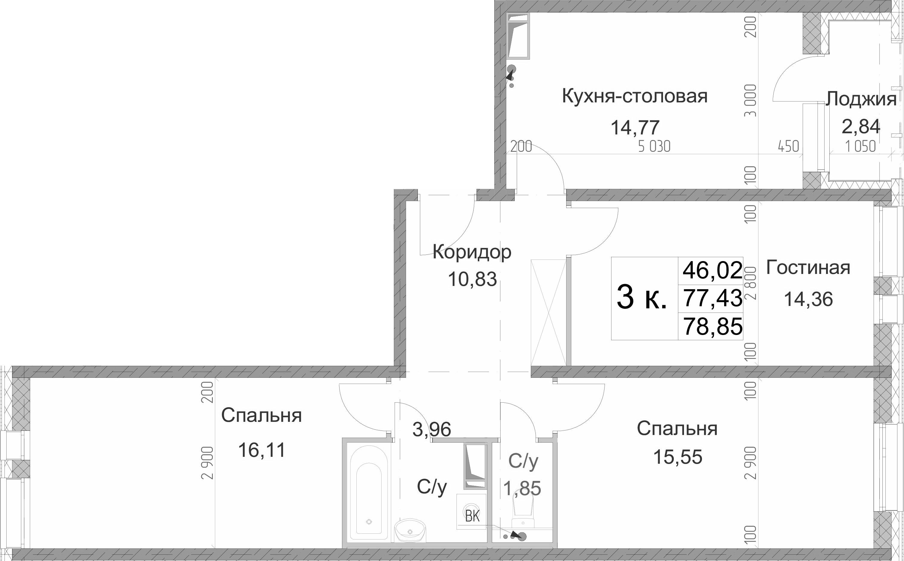 3-к.кв, 78.85 м², 2 этаж