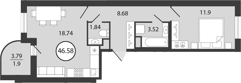 2Е-комнатная, 46.58 м²– 2