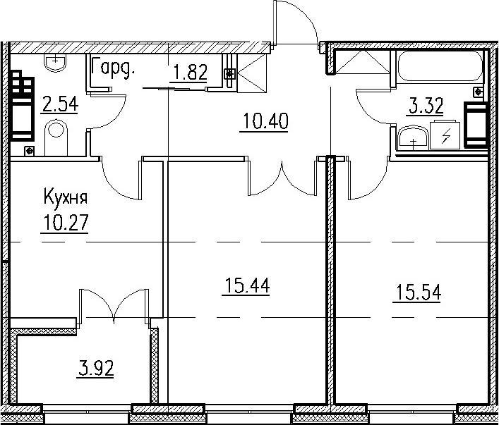 2-к.кв, 59.33 м²