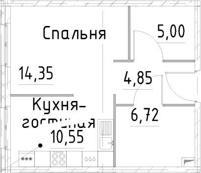 1-комнатная квартира, 41.47 м², 2 этаж – Планировка