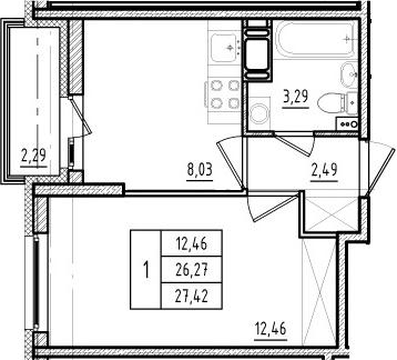 1-к.кв, 26.27 м²