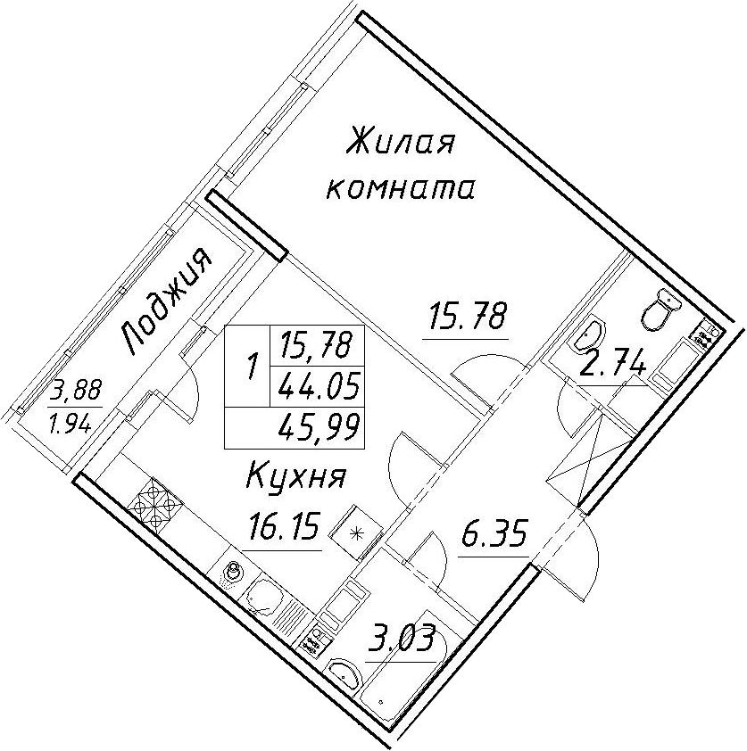 2-к.кв (евро), 47.93 м²