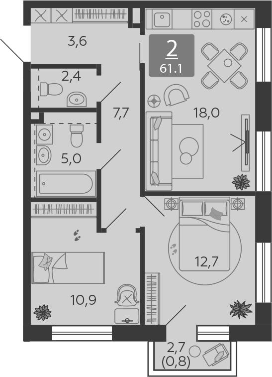 3Е-комнатная, 61.1 м²– 2