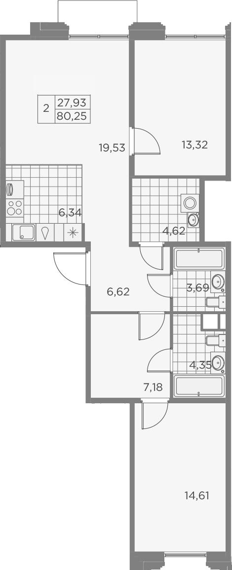 3Е-к.кв, 80.26 м², 8 этаж