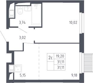 2Е-к.кв, 31.11 м²