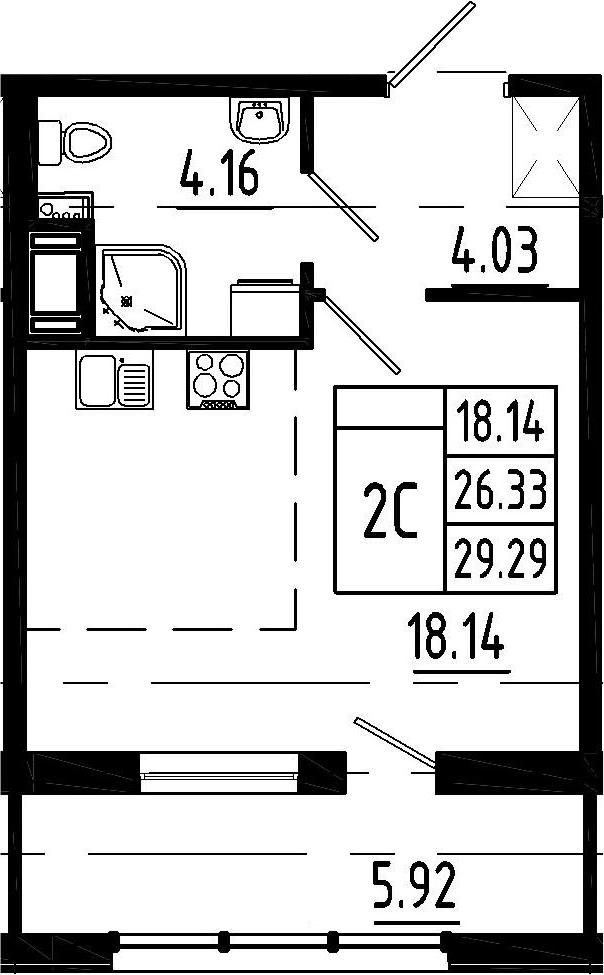 Студия, 26.33 м²– 2