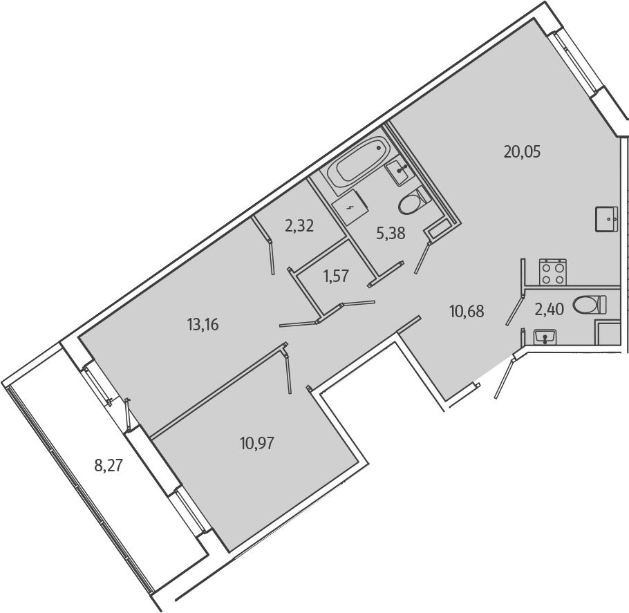 3Е-к.кв, 70.67 м², 1 этаж