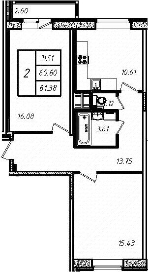 2-к.кв, 61.38 м², от 4 этажа