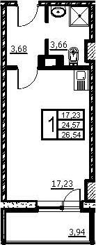 Студия, 26.54 м², 2 этаж