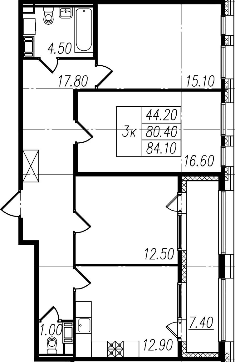 3-к.кв, 87.8 м²