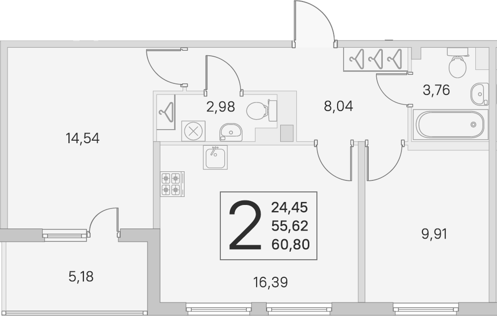 3Е-комнатная квартира, 55.62 м², 2 этаж – Планировка