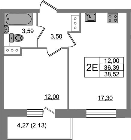 2Е-к.кв, 38.52 м², от 3 этажа