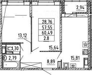 2-к.кв, 57.55 м²