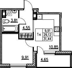 2Е-комнатная, 31.44 м²– 2