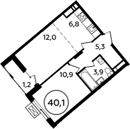 2-к.кв (евро), 41.3 м²