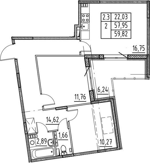 3Е-комнатная, 57.95 м²– 2